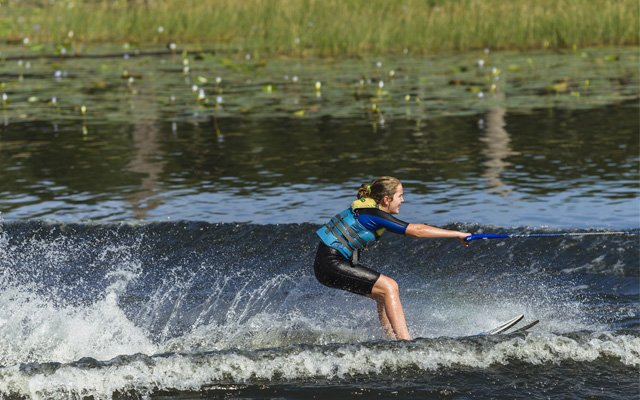 Waterskiing in a pond