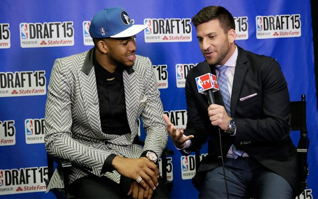 Karl-Anthony Towns interviewing on NBA draft day