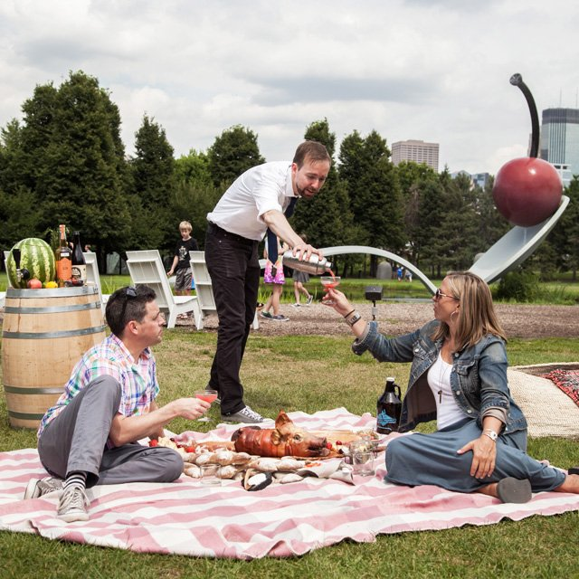 Gavin Kaysen picnic at the Spoonbridge and Cherry with Stephanie March