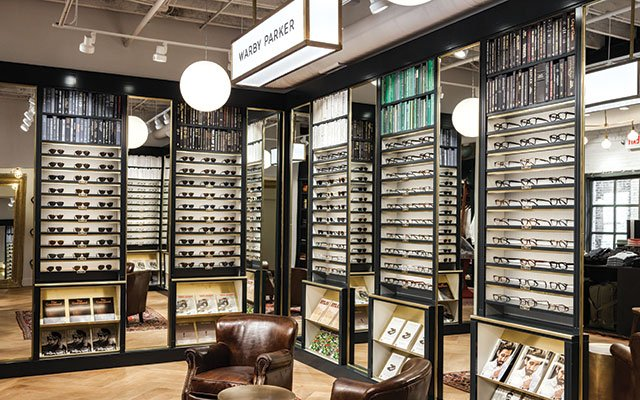 Warby Parker showroom within Askov Finlayson boutique in the North Loop of Minneapolis