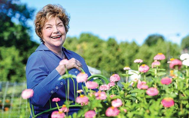 Lynne Rossetto Kasper at St. Anthony Park community garden