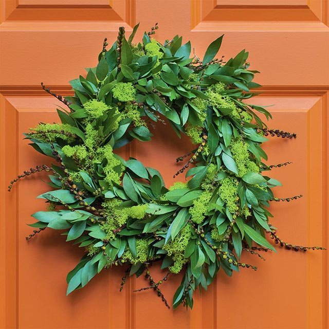 A wreath hanging on a front door.