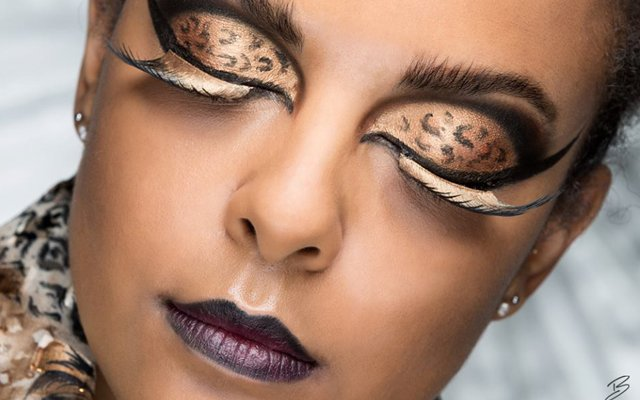 Woman with cheetah makeup