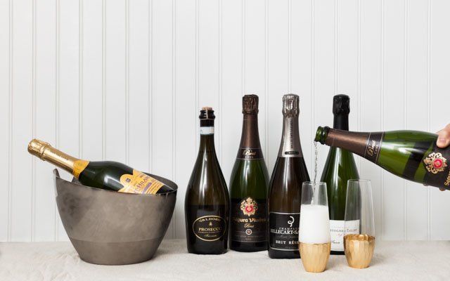 Bottles of sparkling wines