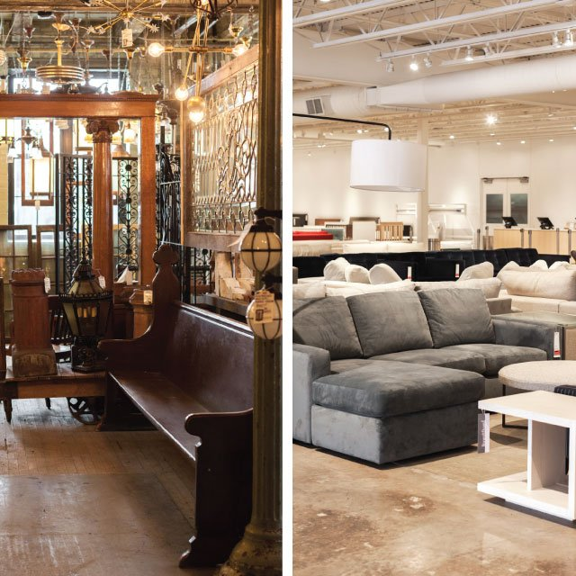 Two stores—Architectural Antiques and the Room & Board Weekend Outlet