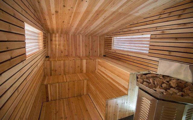 The interior of a sauna