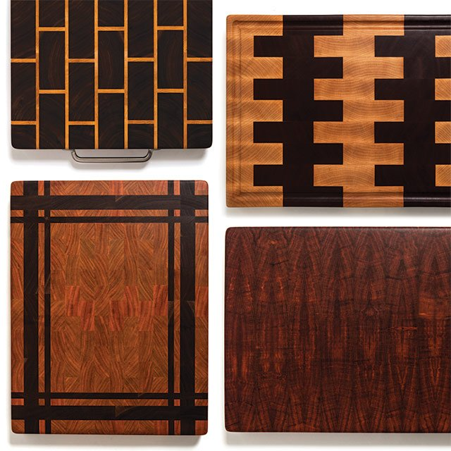 Four wooden cutting boards