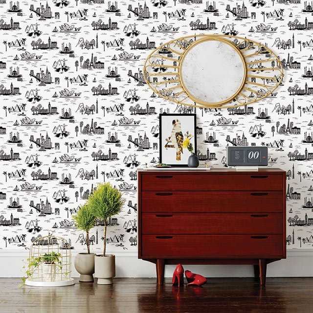 Toile wall covering from Hygge & West
