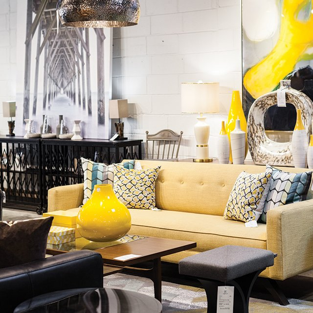 The furniture selection at Habitation Furnishing + Design in St. Louis Park, Minnesota
