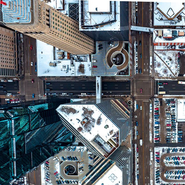 Aerial view of downtown Minneapolis, captured by a drone