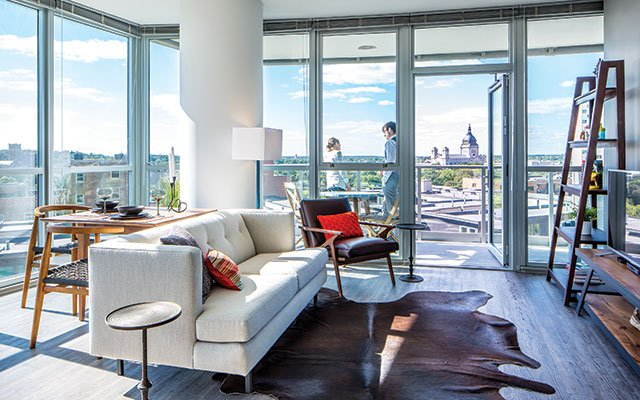 LPM Apartments' floor-to-ceiling windows look out onto Loring Park, the Basilica of St. Mary, the Wa