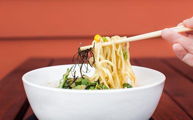 Moto-i's creamy corn ramen soup