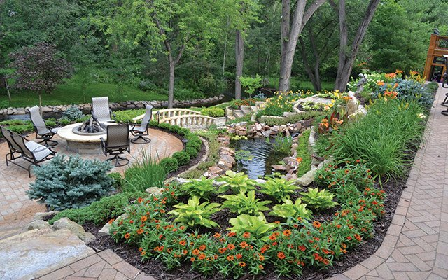 Landscapers used biomimicry to strategically place each planting in a way that would help it to thri