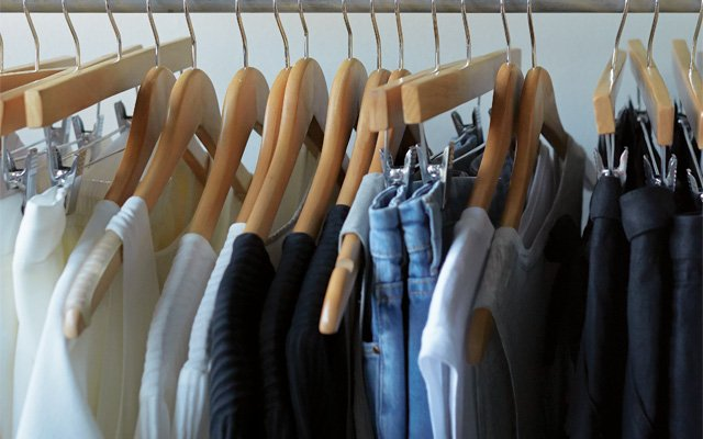 A clothing rack at Parc Boutique in Northeast Minneapolis, MN