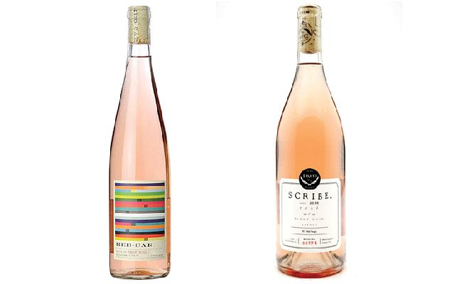 Two bottles of pink wine