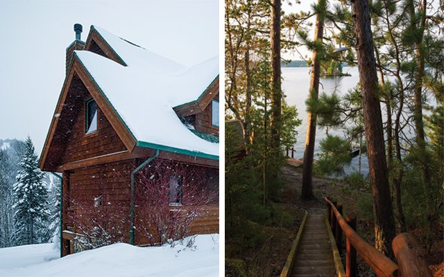 Left: Poplar Ridge rental unit at Caribou Highlands in Lutsen. Right: Steps down to guest  cabins at