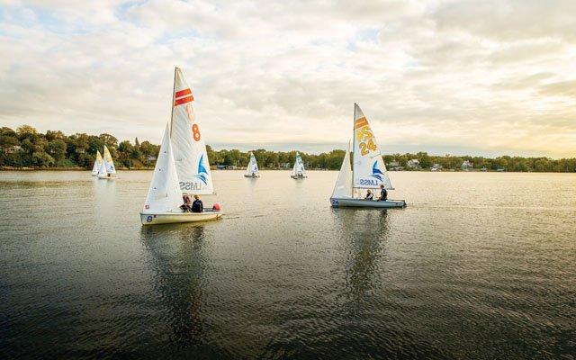 Sail boats on a lake