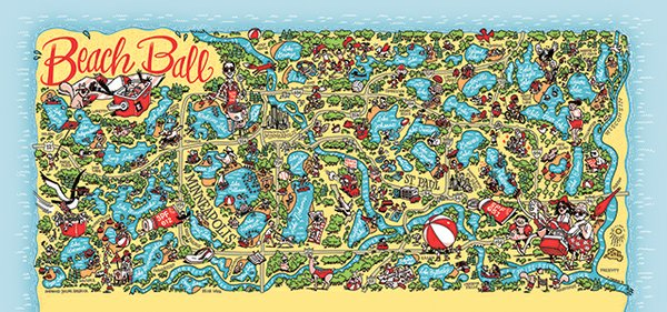 Twin Cities beach guide illustration