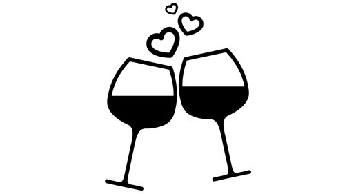 Two Glasses of Wine Illustration