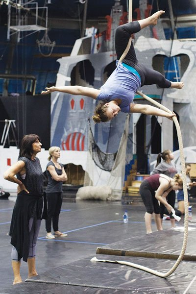 Betty Butler with a Circus Juventas student