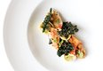 Poached lobster with kale, tortellini, saffron romesco, and sorrel at La Belle Vie.jpg