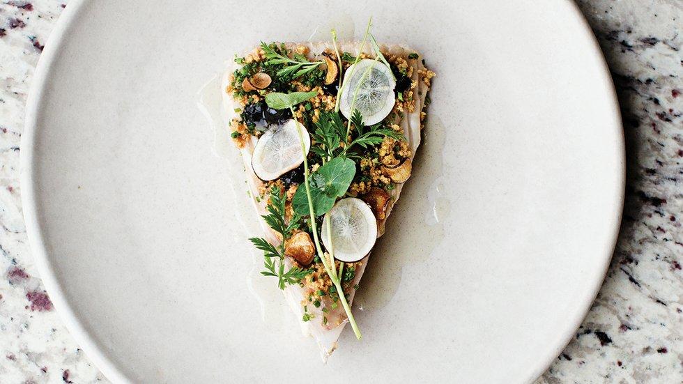 Roasted celeriac with crimini mushrooms, chicken skin, parsley, and ...