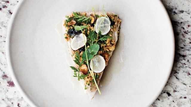Roasted celeriac with crimini mushrooms, chicken skin, parsley, and dill at Heyday.jpg