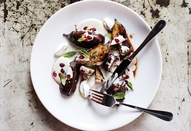 Roasted eggplant with tahini sauce, mint, and pomegranate at Saffron.jpg