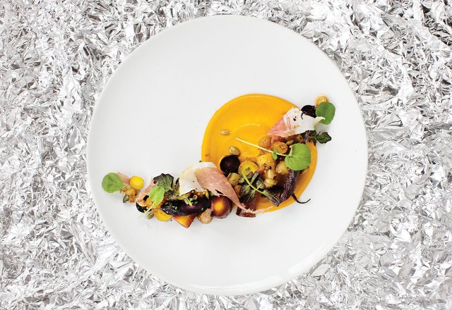 Roasted heirloom carrot salad, with golden raisin mostarda, cumin-flavored puree, pepitas, country ham, and watercress at Corner Table.jpg