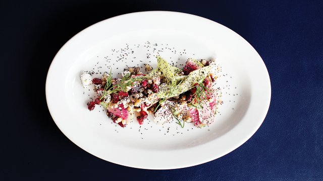 Seven seed salad with cucumber, pomegranate, radish, feta, and dill vinaigrette at Burch Steak.jpg