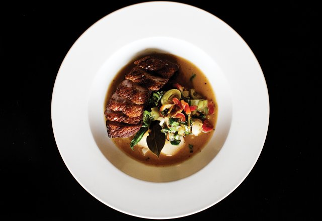 Wild Acres duck with pickled chilis, leeks, ginger, and turnips in miso broth at The Strip Club.jpg