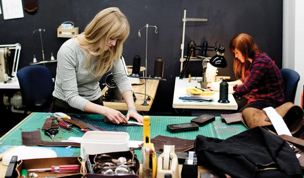 Making leather purses at JW Hulme