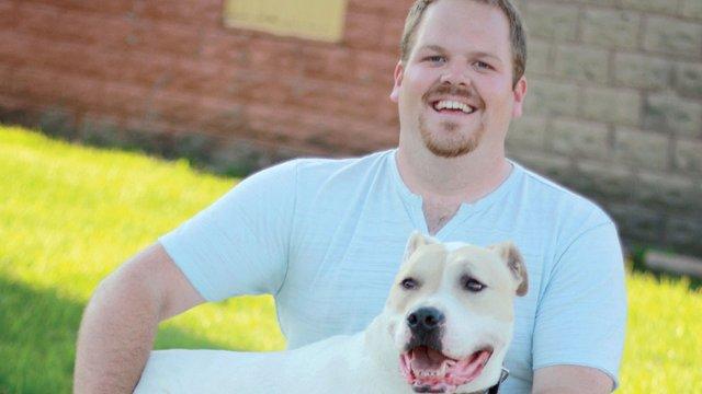 Watson, American bulldog/boxer/american pit bull mix Age: 11