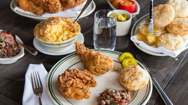 Fried chicken, biscuits, beans, and mac 'n' cheese at Revival