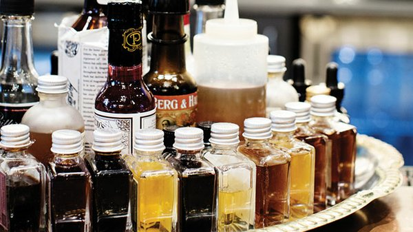 Assortment of barbecue sauces at Handsome Hog