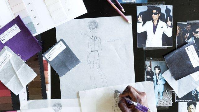 Sketches of Prince's fashion for Fashionopolis 2016