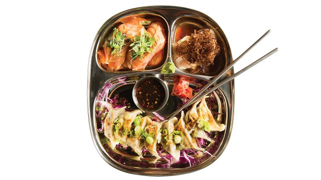 Pinku Japanese dumplings crispy shrimp and sushi