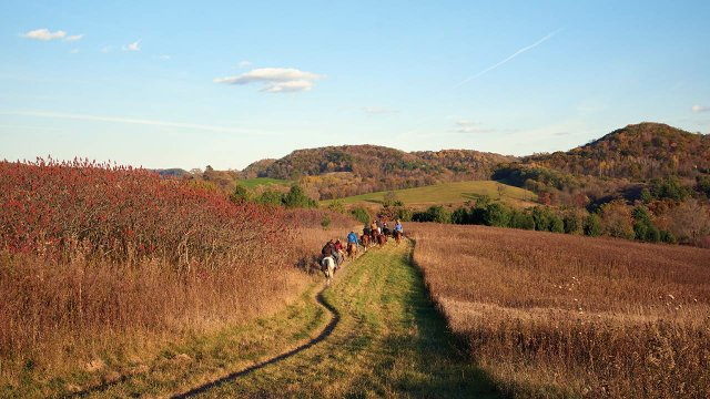 Trail riding in Wisconsin's Kickapoo Valley.