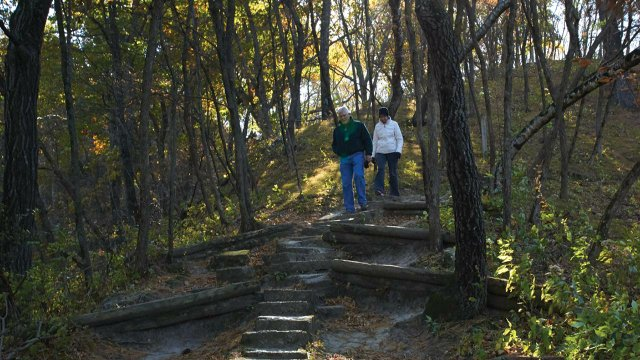 Hikers at Trempealeau Mountain State Natural Area north of La Crosse.