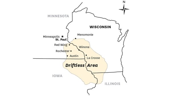Map of Minnesota, Wisconsin, and Iowa's Driftless Area