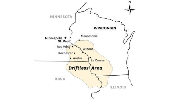 Map of Minnesota, Wisconsin, and Iowa's Driftless Area