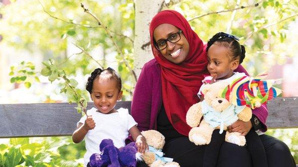 Siman Abdi with daughters Amina and Rania.