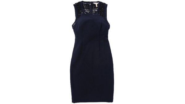Lace shift dress in navy