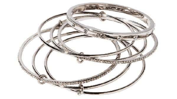 Stack of silver bangles