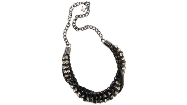 Black leather and jewel necklace