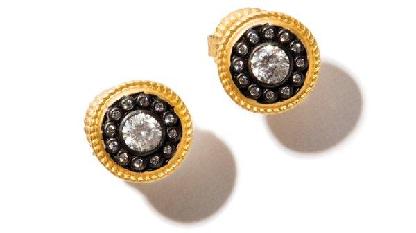 Nautical button earrings