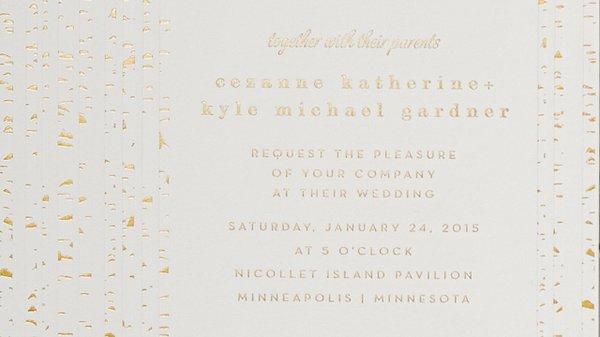 Gold speckle invite
