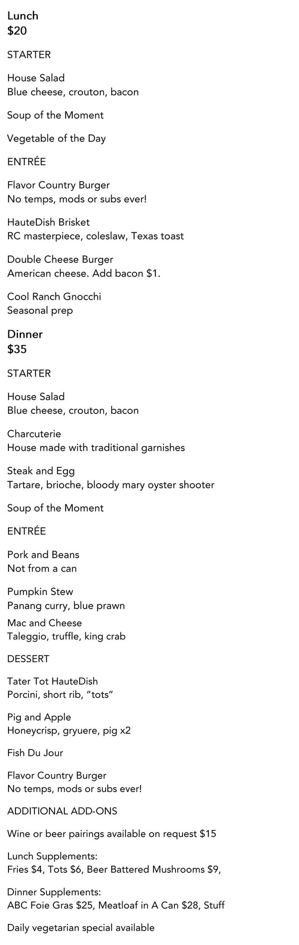 HauteDish Restaurant Week Menu Oct 2016