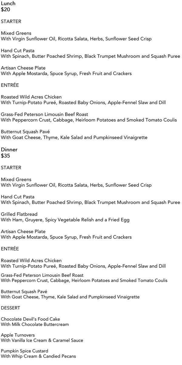 Lucia's Restaurant Week Menu Oct 2016