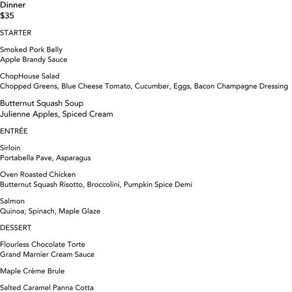 Bloomington ChopHouse Restaurant Week Menu Oct 2016